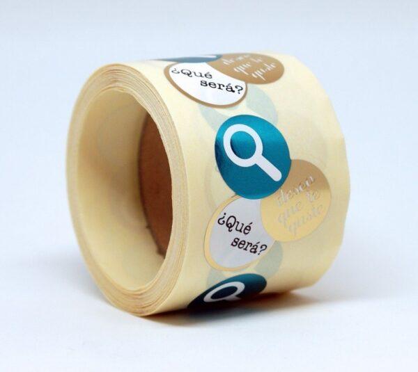 Etiquetas adhesivas lupa deseo que te guste, qué será?