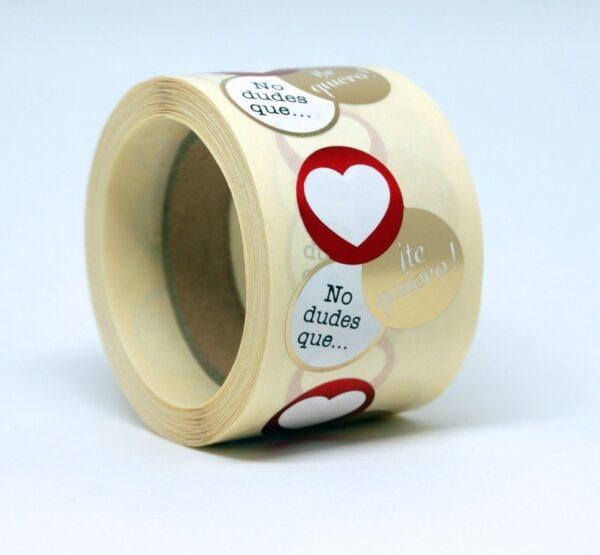 Etiquetas adhesivas no dudes que te quiero