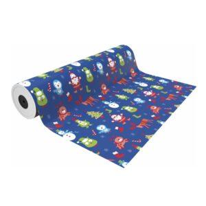 Papel de regalo para navidad fondo azul con dibujos infantiles navideños