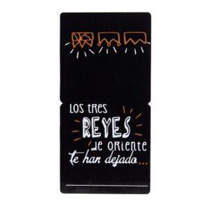 Etiquetas adhesivas cierra bolsas negra de los tres reyes magos de orente