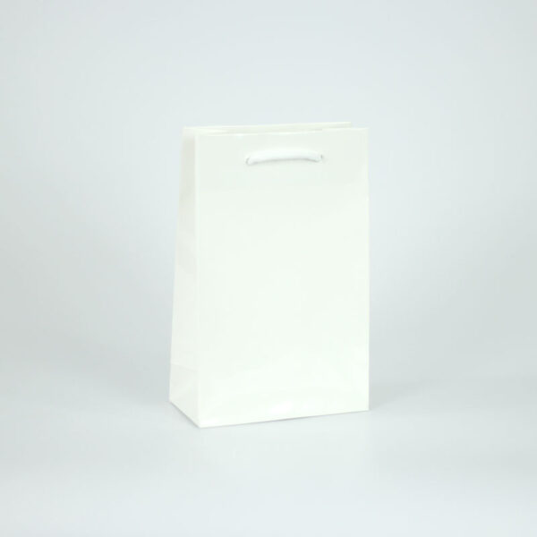 Bolsa blanca plastificado brillo 16x8x25