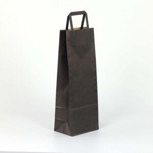 bolsa de papel asa plana para botellas 14x9x36 negra