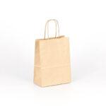 bolsa de papel asa rizada pequeña 15x8x20 kraft marrón liso avana