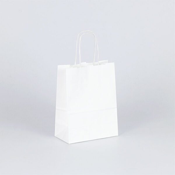 bolsa de papel asa rizada pequeña 15x8x20 blanca