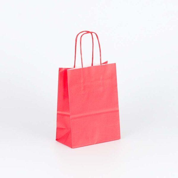 bolsa de papel asa rizada pequeña 15x8x20 roja