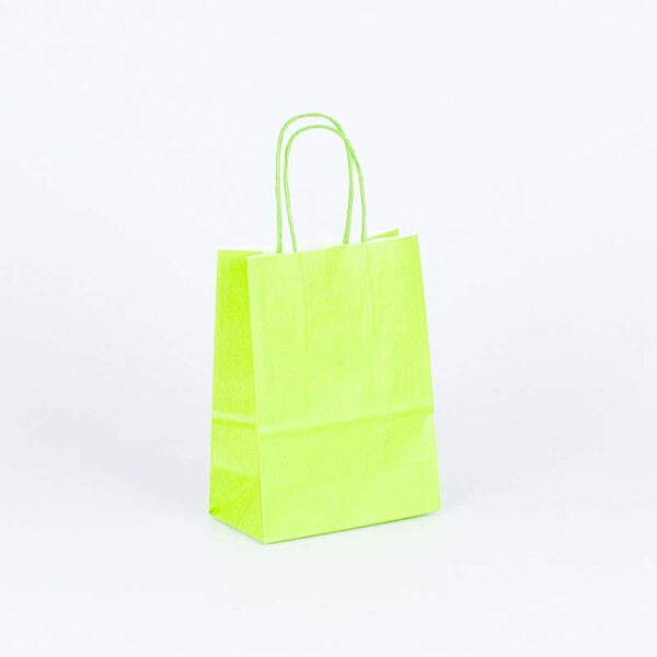 bolsa de papel asa rizada pequeña 15x8x20 verde pistacho lima