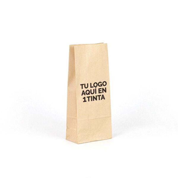 Bolsas de papel kraft fondo americano personalizadas 14x8x32 marrón verjurado