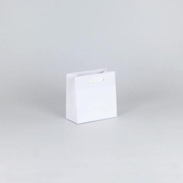 Bolsas de lujo pequeñas asa cinta 14x7x14 blanca