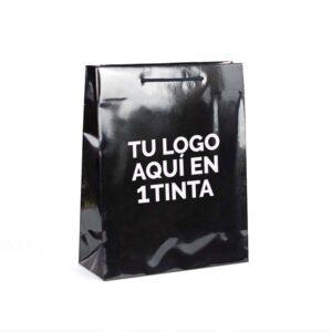 Bolsas de lujo personalizadas para tiendas plastificadas brillo 32x13x40 negra