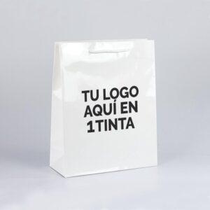 Bolsas de lujo personalizadas para tiendas plastificadas brillo 32x13x40 blanca