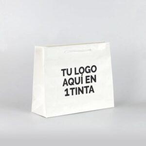 bolsas de lujo asa cordón personalizadas plastificadas 38x13x31 blanca