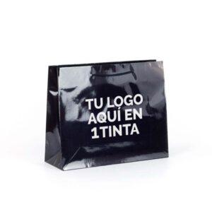 bolsas de lujo asa cordón personalizadas plastificadas 38x13x31 negra