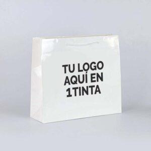 Bolsas de lujo plastificadas brillo personalizadas 42x13x37 blancas