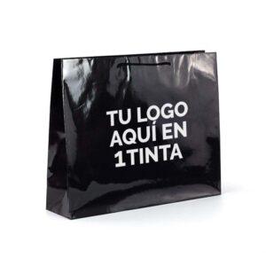 Bolsas de lujo grandes personalizadas plastificado brillo 54x14x44.5 negra