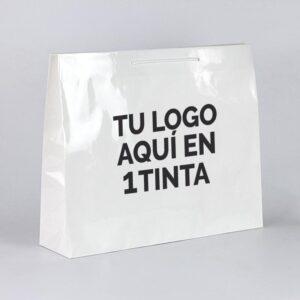 Bolsas de lujo muy grandes personalizadas plastificado brillo 64x20x46 blanca