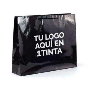 Bolsas de lujo muy grandes personalizadas plastificado brillo 64x20x46 negra