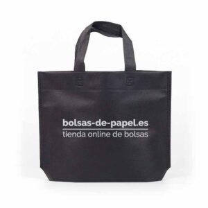 producto bolsa de tela personalizada asa cinta fuelle hexagonal negra