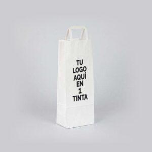 Bolsas de papel personalizadas para botellas de vino 14x9x36 blancas asa plana