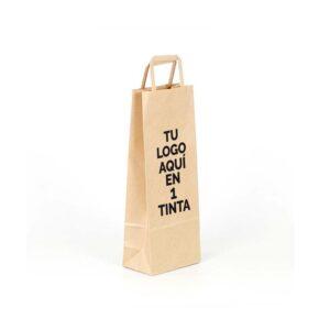 Bolsas de papel personalizadas para botellas de vino 14x9x36 kraft marrón verjurado asa plana