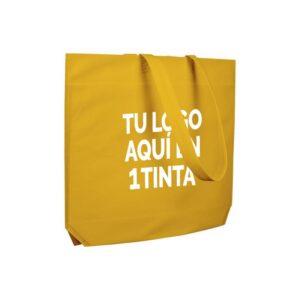 Bolsas de tela personalizadas asa cinta fuelle hexagonal amarilla