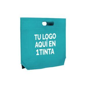 Bolsas de tela con fuelle hexagonal personalizadas 34x26+8 turquesa