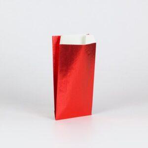 Sobres de papel metalizado gofrados para regalo 11x21+5 roja