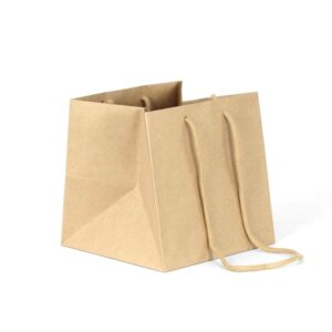 bolsas de papel para macetas 22x22x22 asa larga kraft marrón reciclado