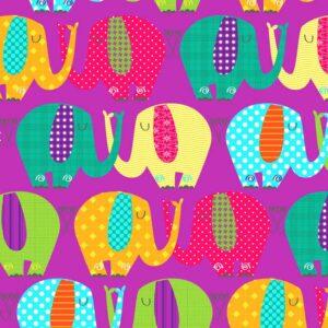 papel de regalo infantil con dibujo de elefantes morado 057901100