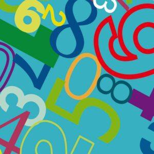 Papel de regalo infantil con números turquesa 075216100