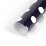 Papel de regalo negra con lunares blancos