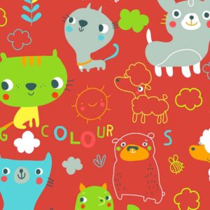 Papel de regalo infantil rojo con dibujo de animales 080903100