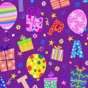Papel de regalo infantil con dibujo de globos y regalos 104911100