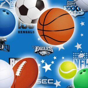 Papel de regalo infantil con dibujo de deportes azul 110915100