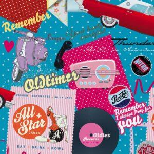 Papel de regalo con dibujos retro vintage azul 11945100