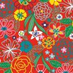 Papel de regalo con dibujos de hojas y flores rojo 134203100