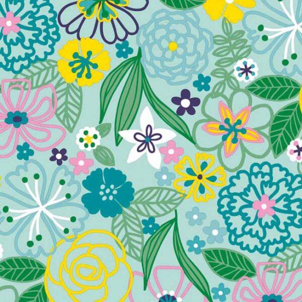 Papel de regalo con dibujos de hojas y flores agua marina 134916
