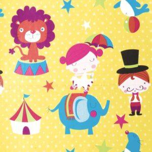 Papel de regalo amarillo con dibujos del circo 155944100
