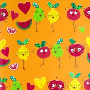Papel de regalo naranja con dibujo de frutas 156919100