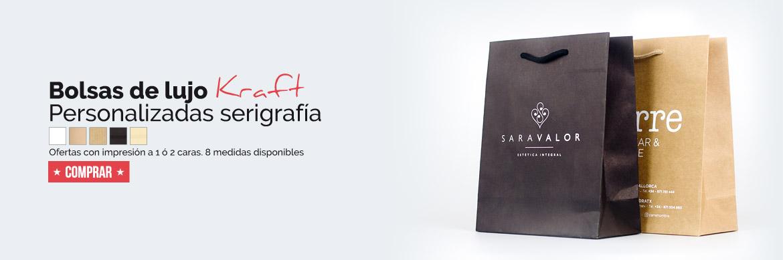 ofertas bolsas de lujo kraft personalizadas serigrafía sld