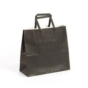 Bolsa de papel pequeñas asa plana 24x10x23 negra