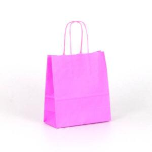 Bolsa papel asa rizada 18x8x20 rosa