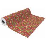 papel de regalo navideño infantil con fondo rojo y dibujo de árboles y regalos verdes nv1701