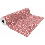 papel de regalo navideño fondo rojo y dibujos navideños de arboles renos y decoraciones nv1901