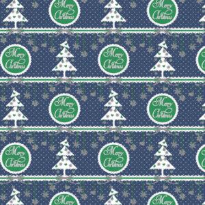 Papel de regalo navideño azul con abetos y texto Merry Christmas 257906