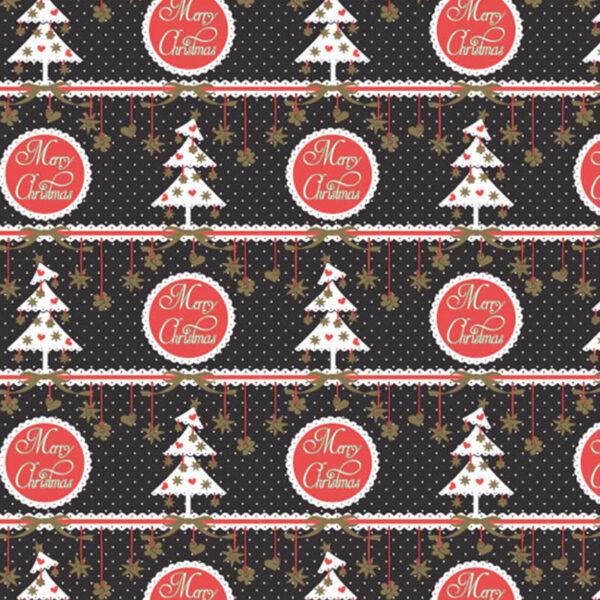 Papel de regalo navideño negro con abetos y texto Merry Christmas 257908
