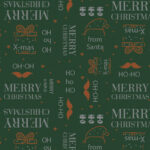 Papel de regalo navideño verde con tipografías 251918