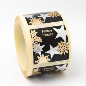 Etiquetas navideñas negras oro y plata cuadradas