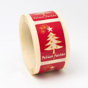 Etiquetas adhesivas rojas árbol oro ET1252E