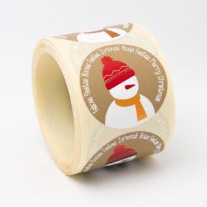 Etiquetas adhesivas dibujo muñeco de nieve y felices fiestas multilenguaje ET1754