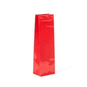 Bolsa de lujo plastificada 12x9x40 roja para botellas de vino